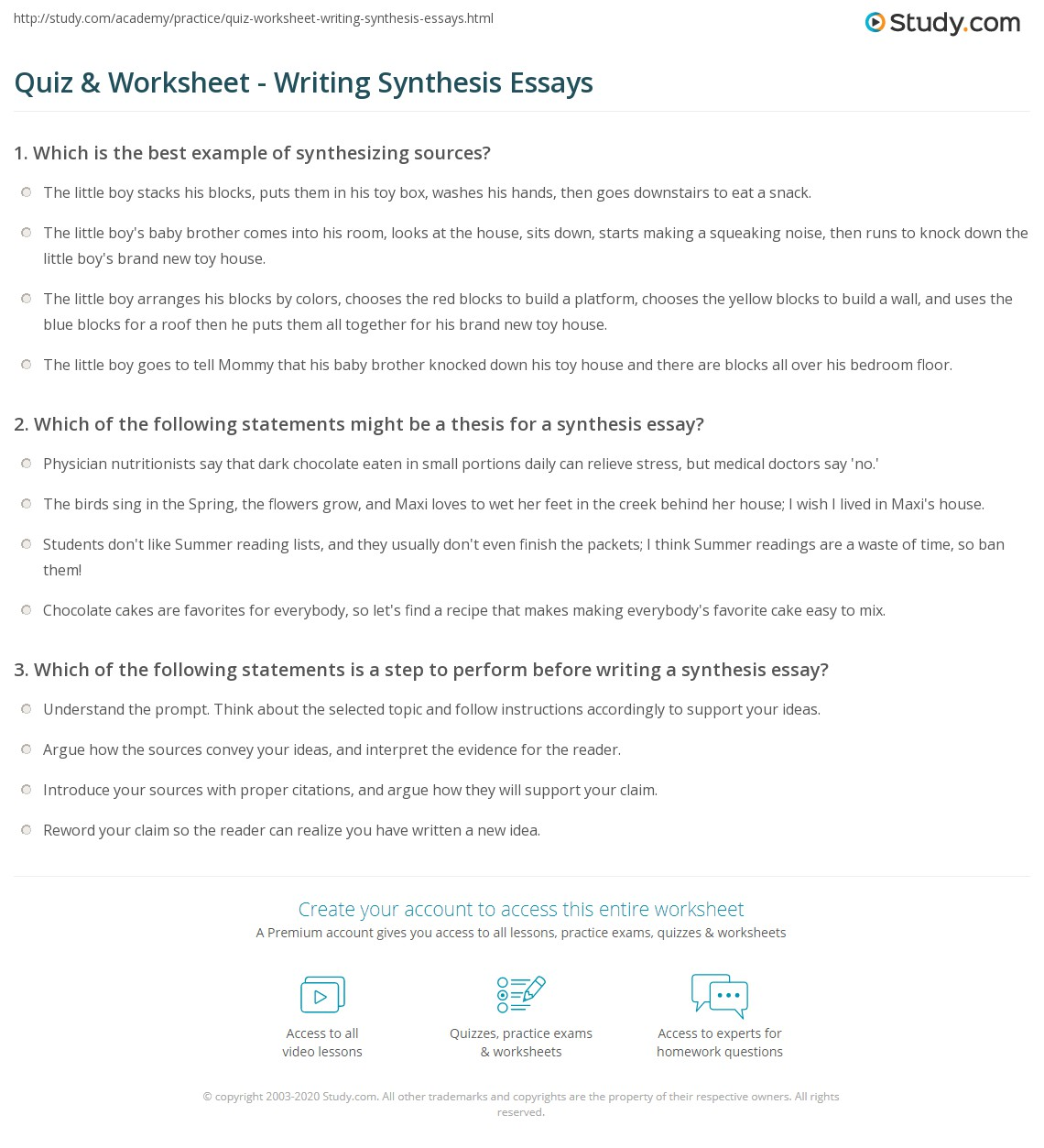 Essay On My Mother In English How To Write Synthesis Essay Quiz Worksheet Writing Synthesis Essays  Computer Science Essay also Healthy Diet Essay How To Write Synthesis Essay  Snapwitco Business Ethics Essay Topics