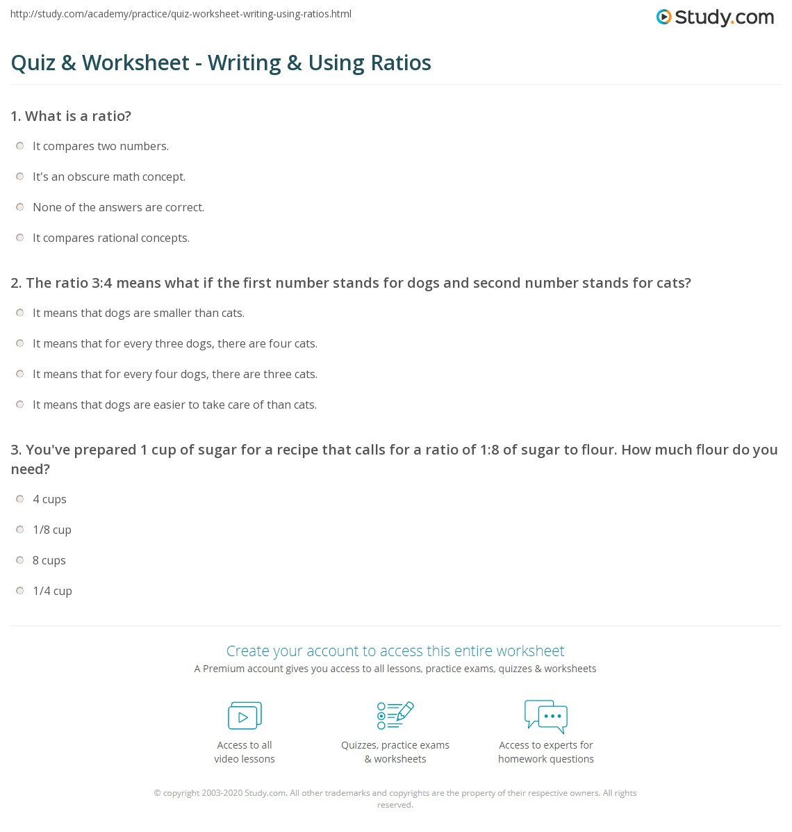 Quiz worksheet writing using ratios study print what is ratio in math definition overview worksheet ibookread PDF