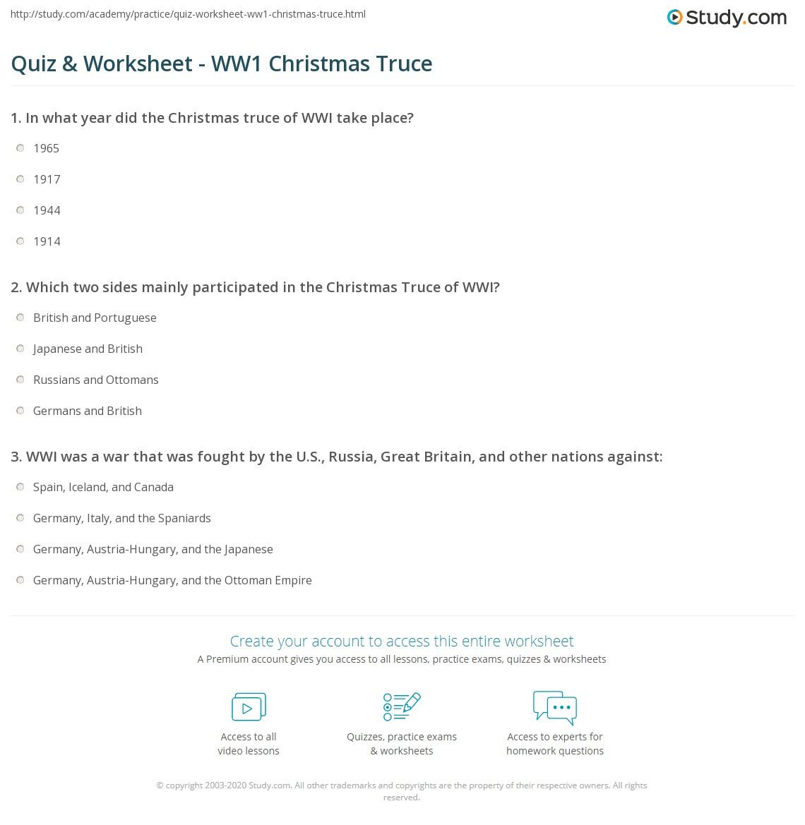 Quiz & Worksheet - WW1 Christmas Truce | Study.com