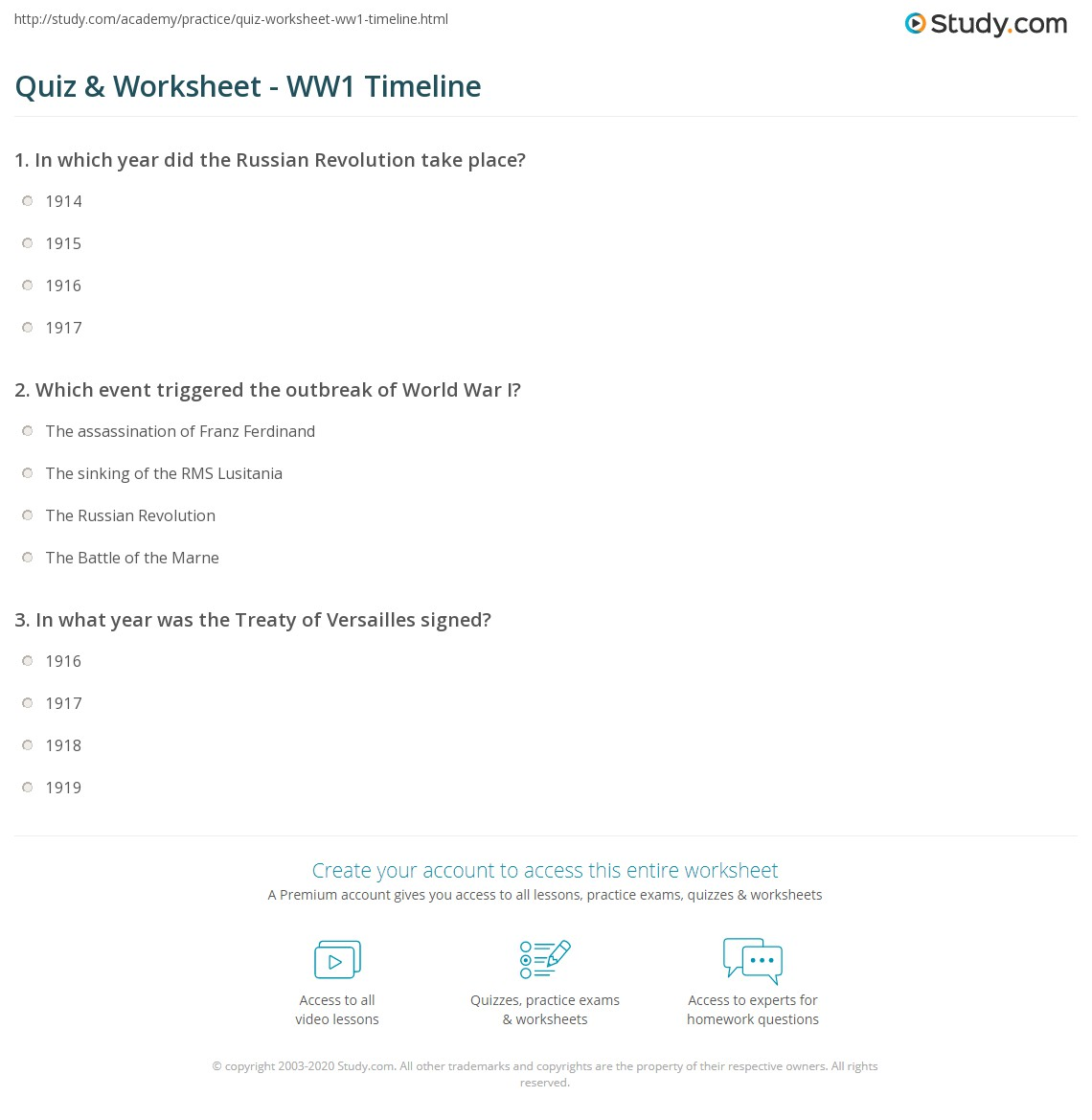 worksheet World War 1 Worksheet quiz worksheet ww1 timeline study com 1 which event triggered the outbreak of world war i