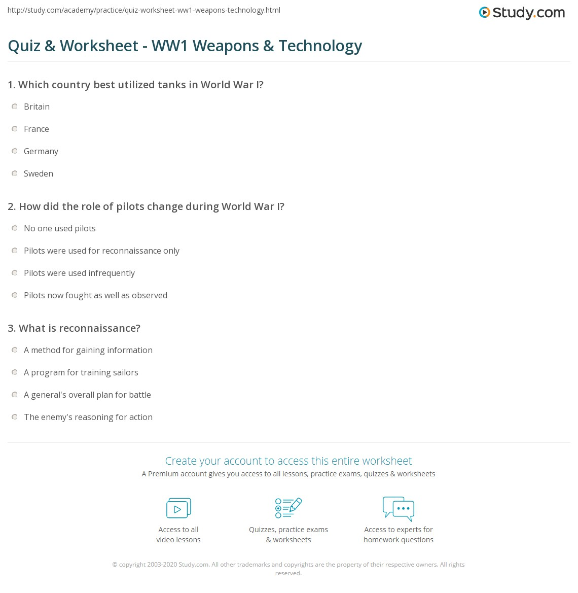 Quiz Worksheet WW1 Weapons Technology – World War 1 Worksheets