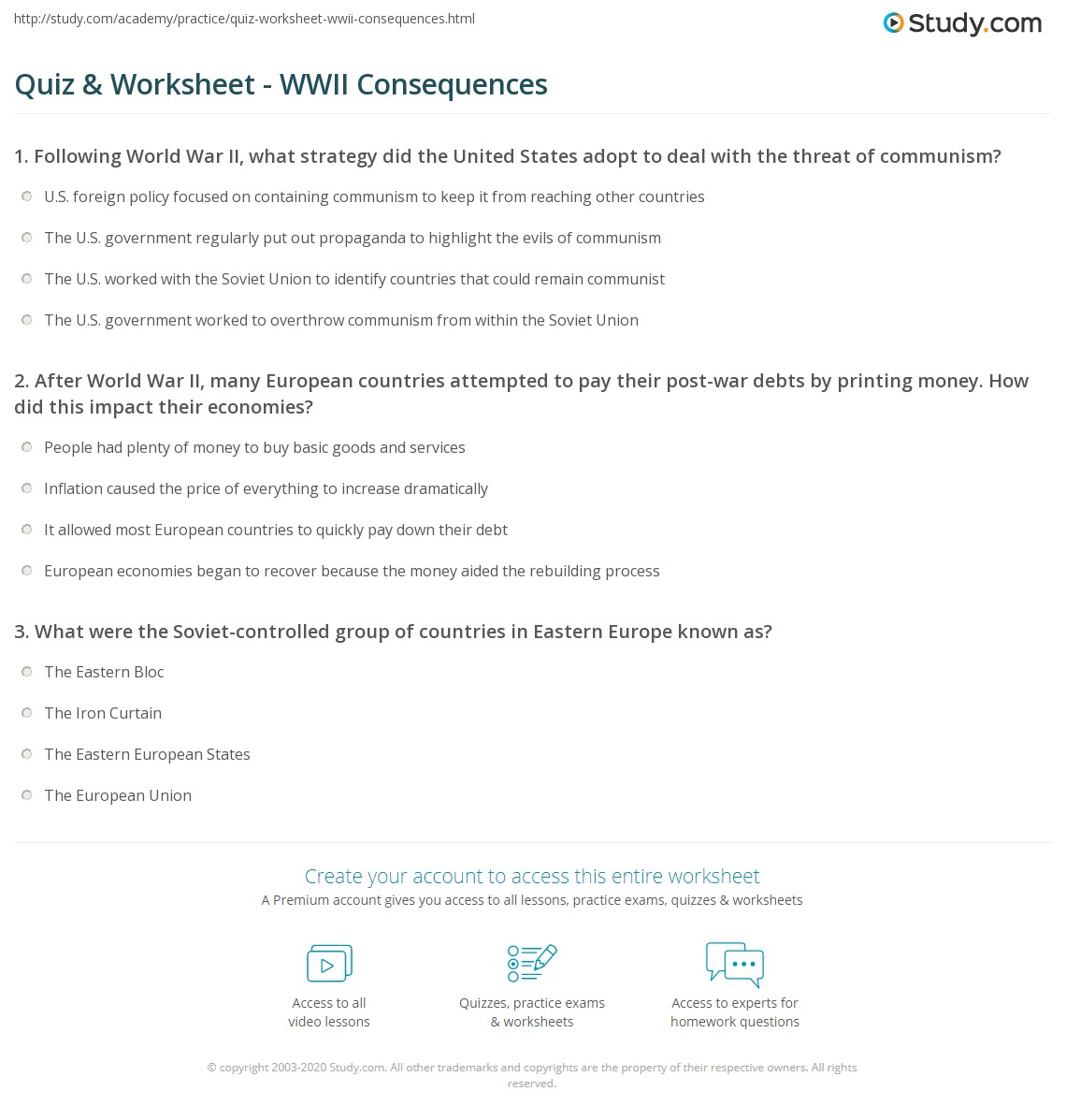 Quiz Worksheet Wwii Consequences Study Com
