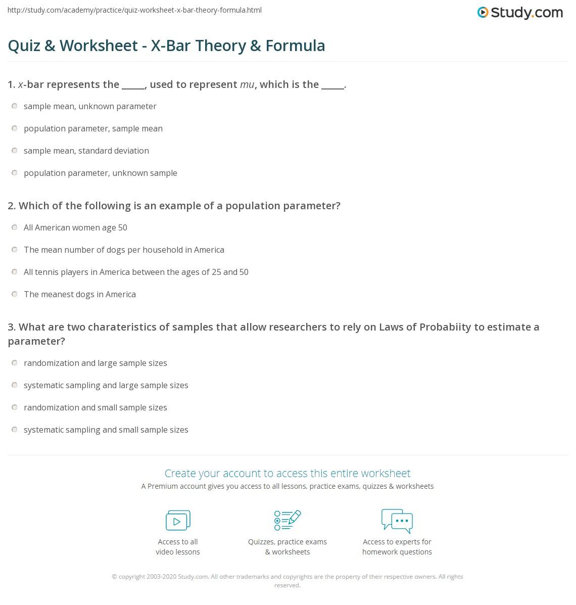 Quiz & Worksheet - X-Bar Theory & Formula | Study.com