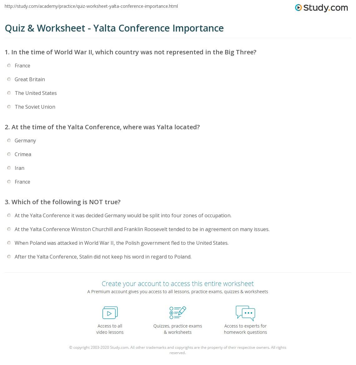 Quiz Worksheet Yalta Conference Importance Study