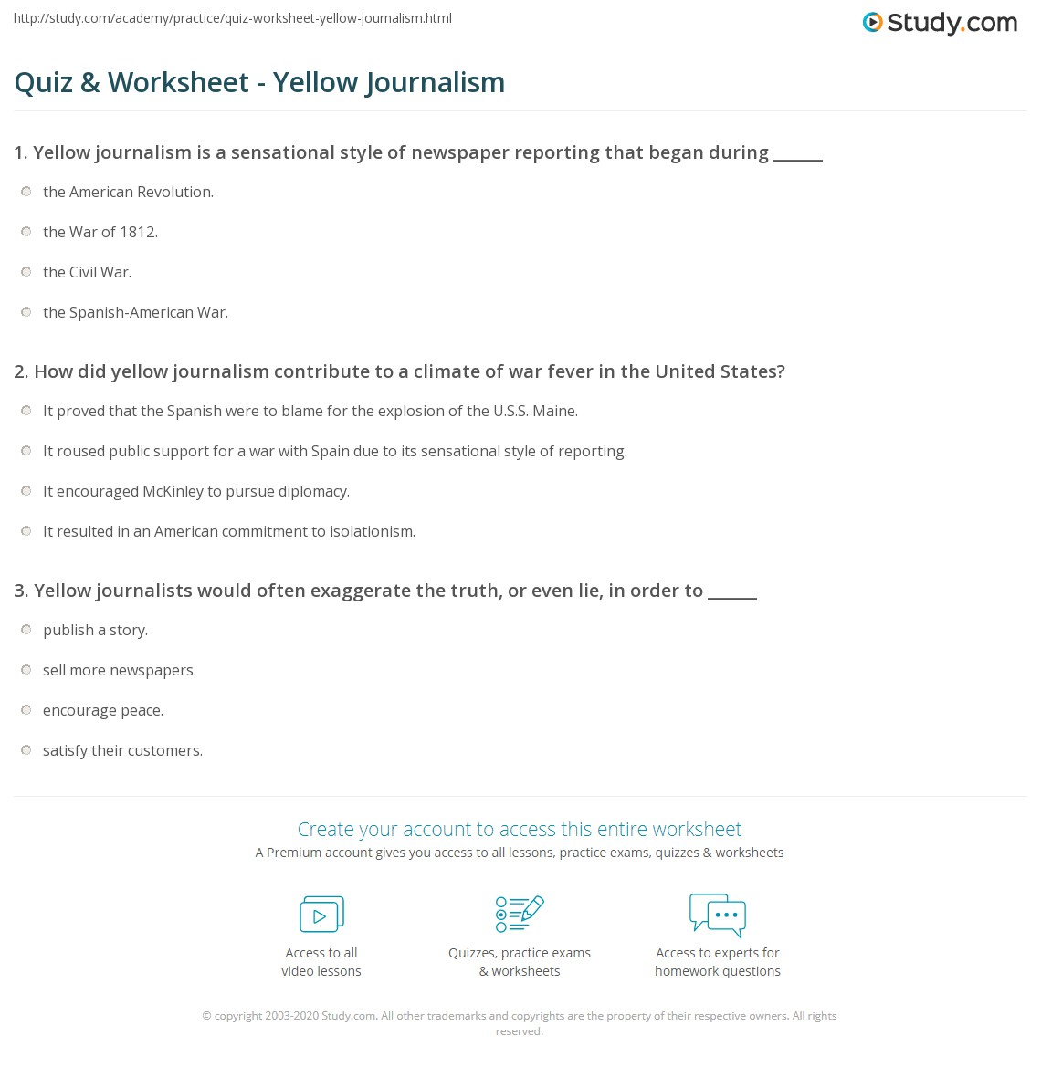 quiz worksheet yellow journalism. Black Bedroom Furniture Sets. Home Design Ideas