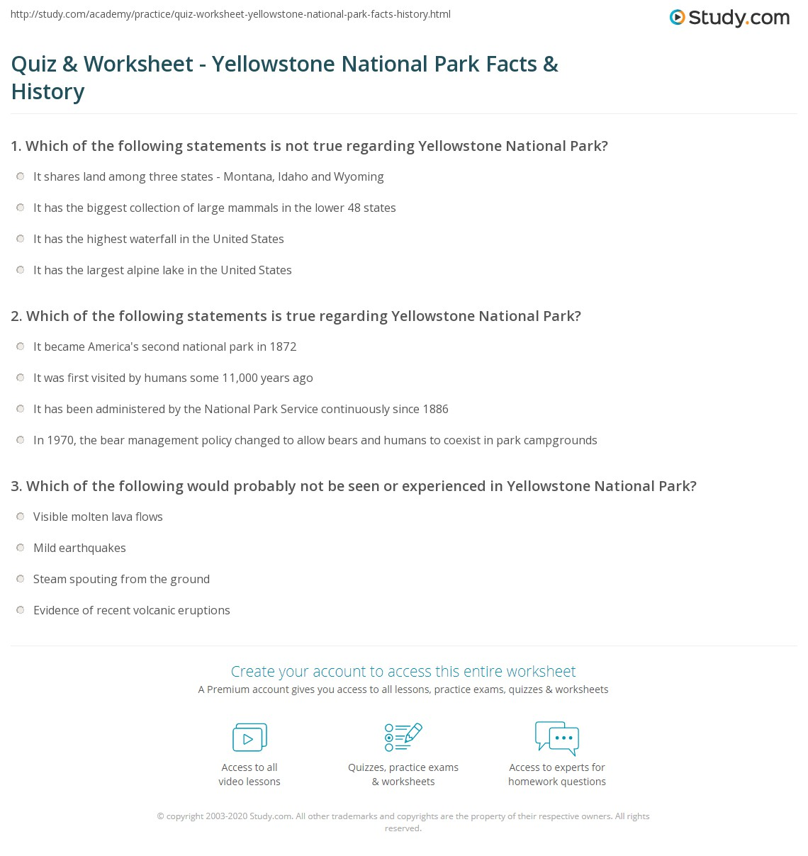Quiz & Worksheet - Yellowstone National Park Facts & History | Study.com