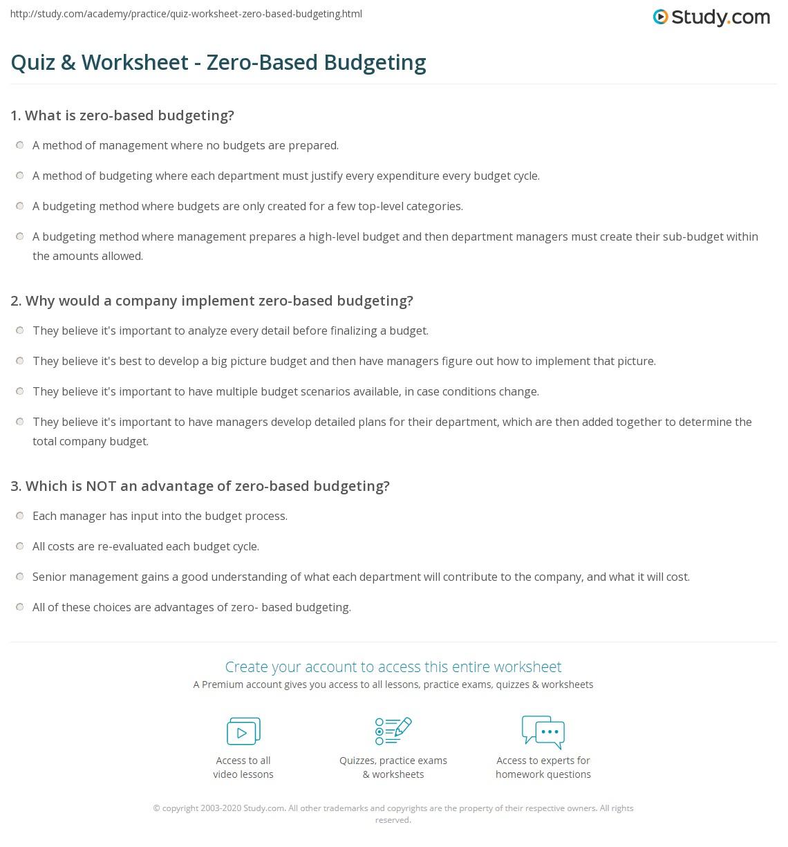 Quiz Worksheet Zero Based Budgeting Study