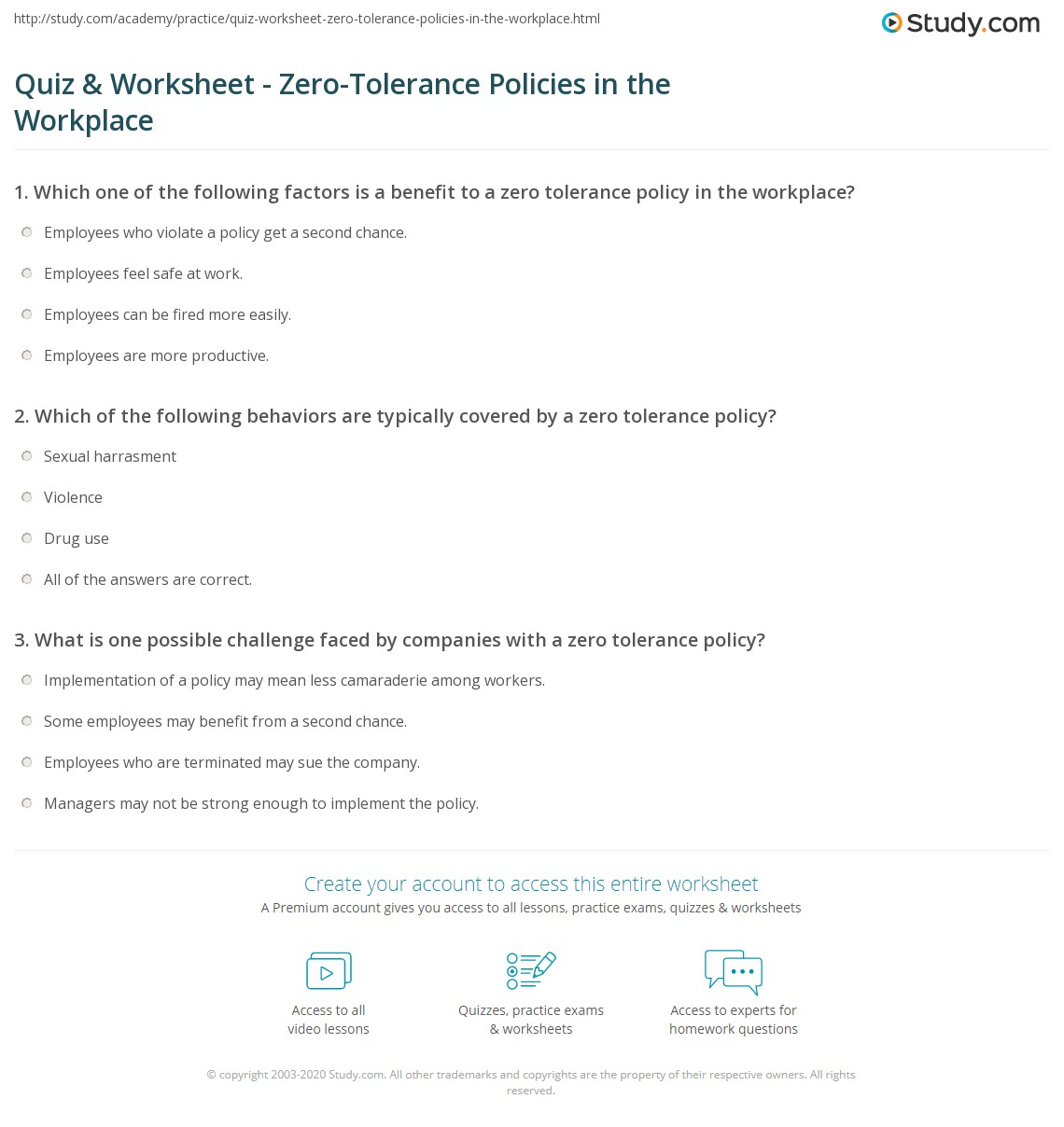 Quiz Worksheet Zero Tolerance Policies In The Workplace Study