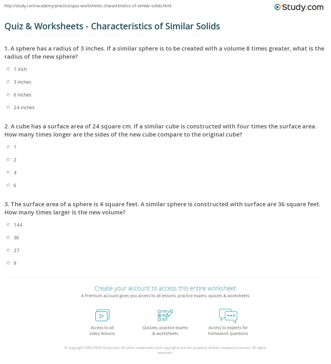 worksheet Volume Of Sphere Worksheet quiz worksheets characteristics of similar solids study com 1 a cube has surface area 24 square cm if is constructed with four times the how many longe