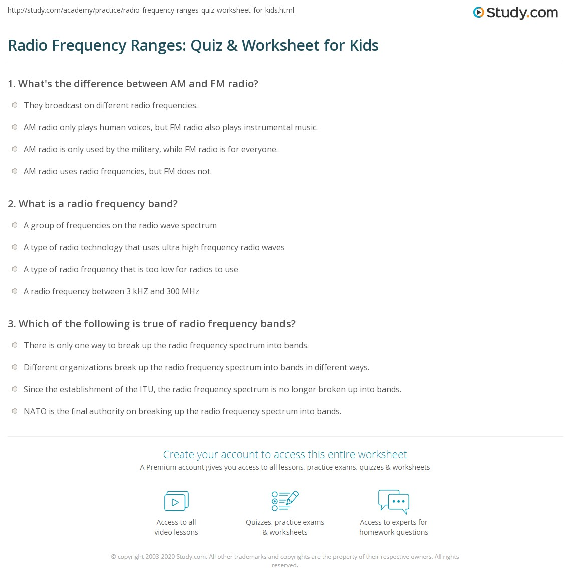 Radio Frequency Ranges: Quiz & Worksheet for Kids | Study com