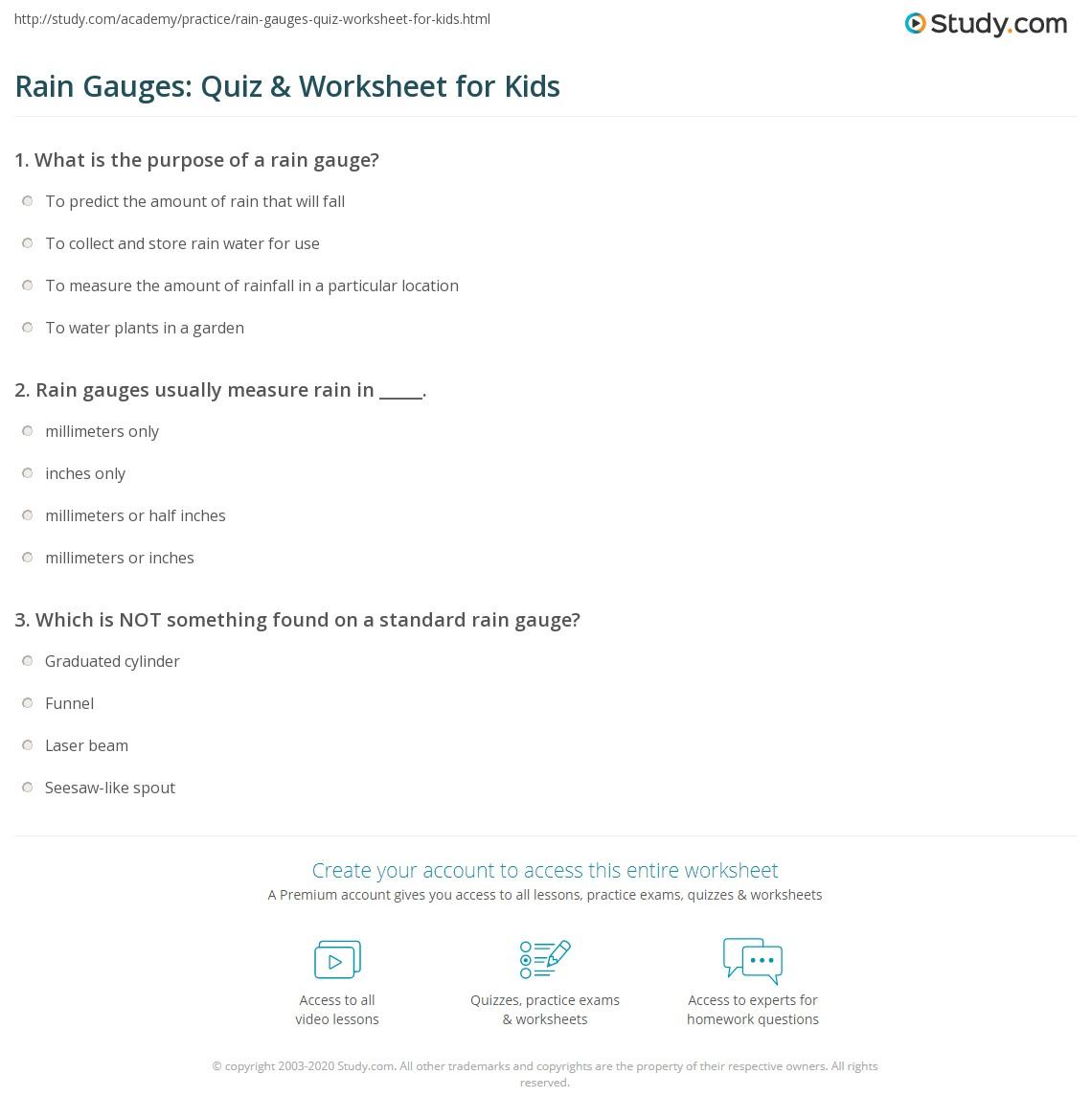 rain gauges quiz worksheet for kids. Black Bedroom Furniture Sets. Home Design Ideas