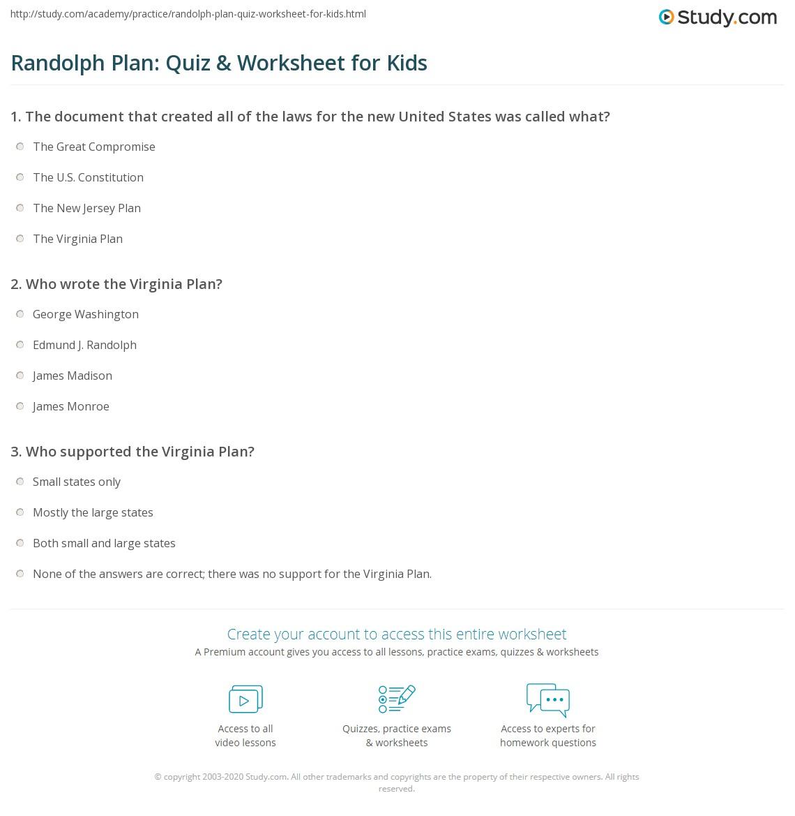 randolph plan: quiz & worksheet for kids | study