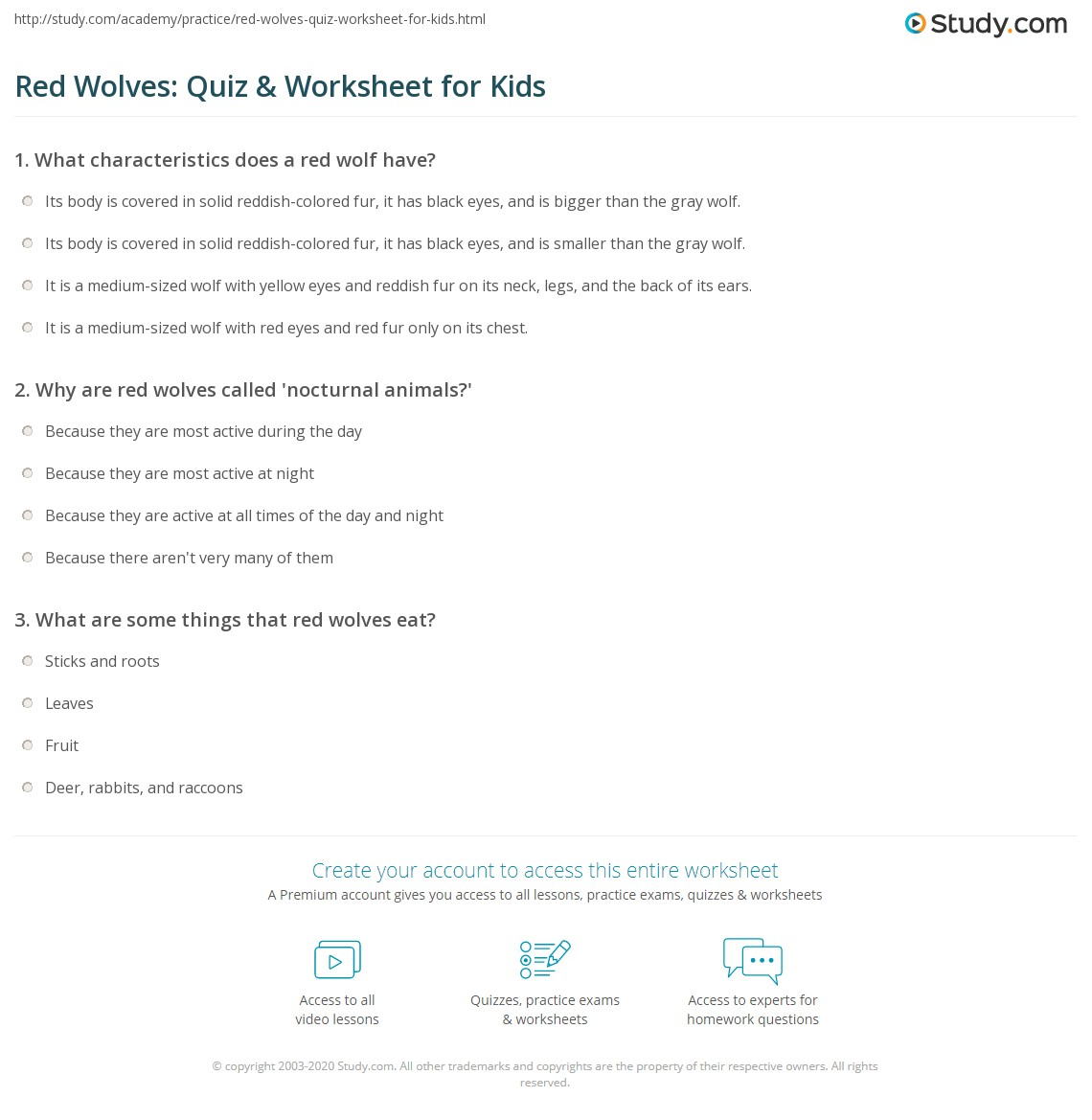 Red Wolves Quiz Worksheet For Kids Study