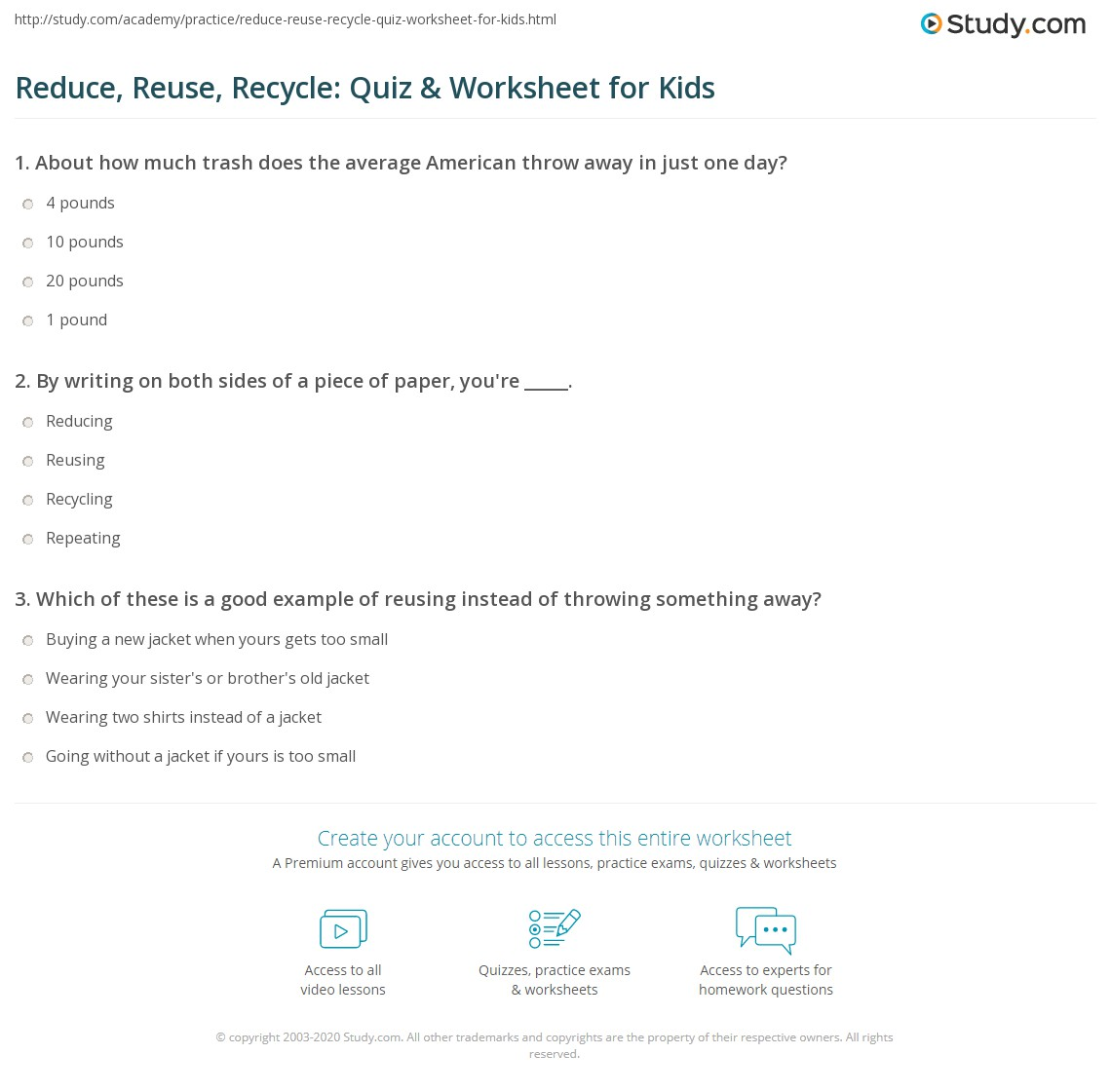 Reduce Reuse Recycle Quiz Worksheet For Kids Study