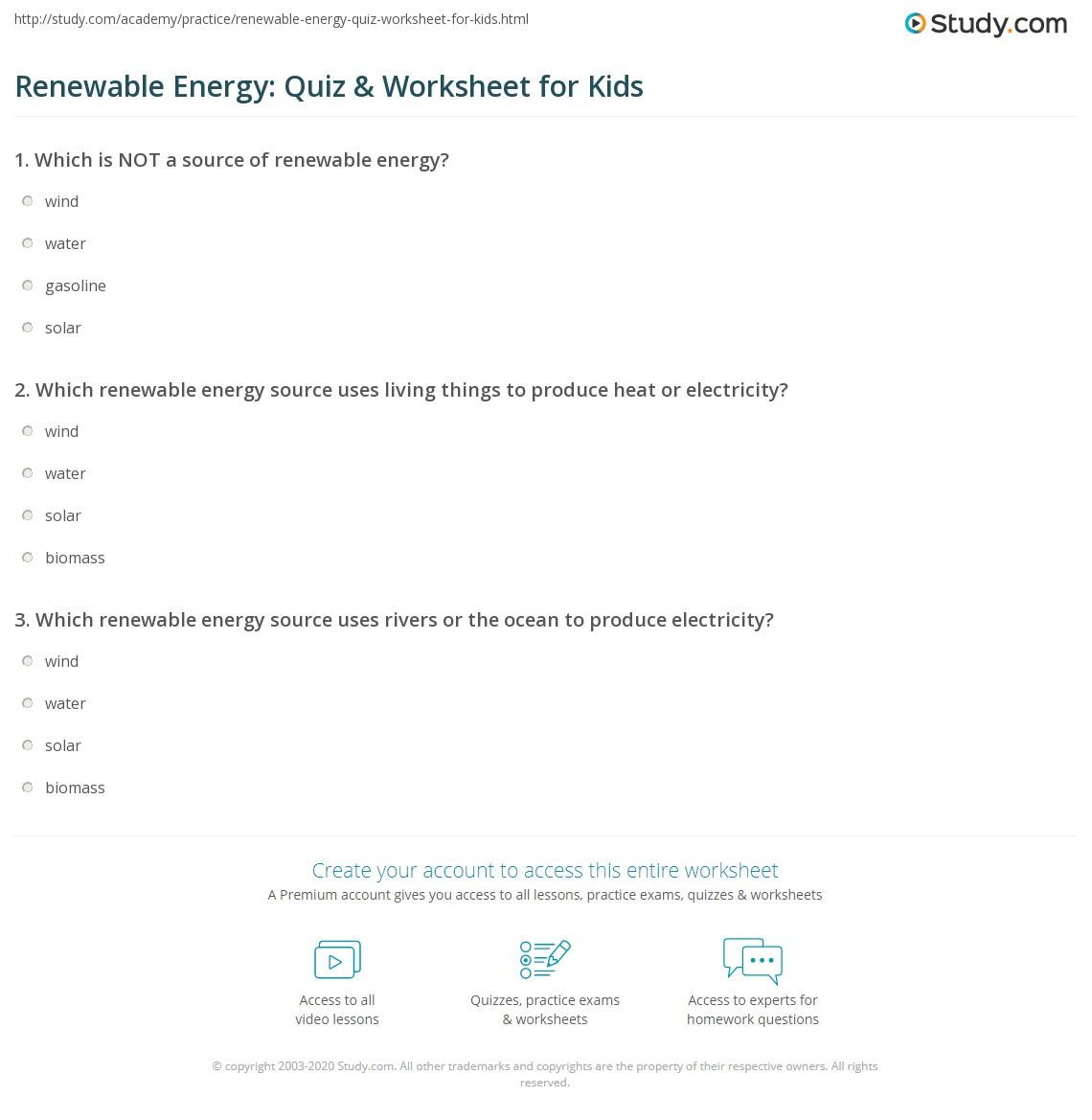 Renewable Energy Quiz Worksheet For Kids Study Com