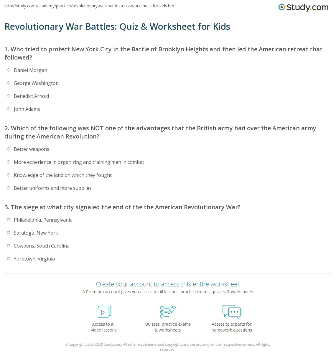 Worksheets American Revolutionary War Worksheets revolutionary war battles quiz worksheet for kids study com print american revolution lesson worksheet