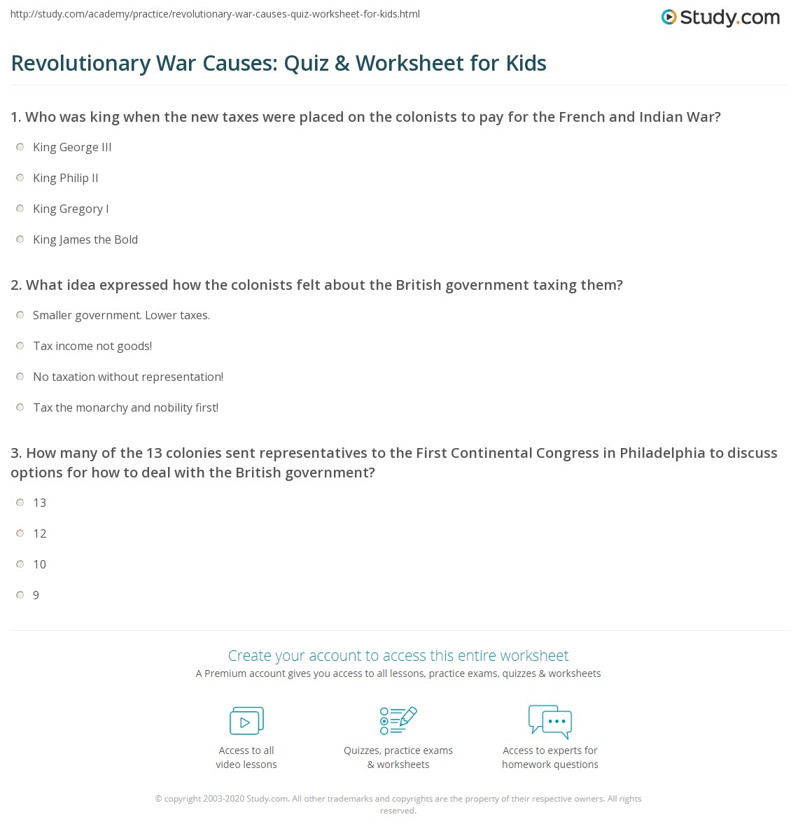 Revolutionary War Causes: Quiz & Worksheet for Kids | Study.com