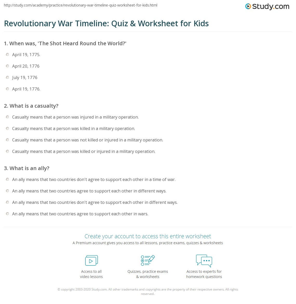 Printables American Revolution Timeline Worksheet revolutionary war timeline worksheet davezan quiz amp for kids study com
