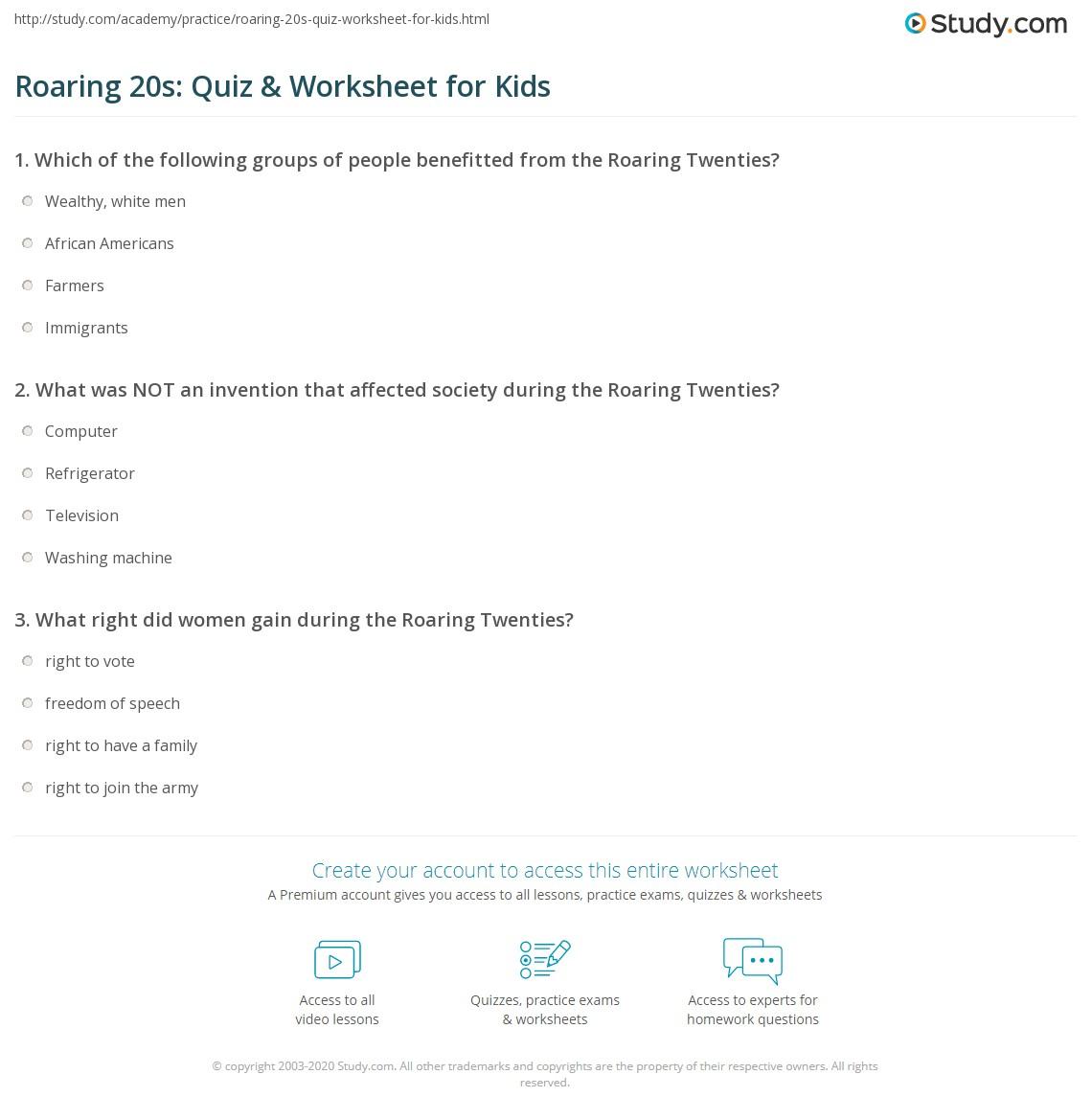 Roaring 20s Quiz Worksheet for Kids – Roaring Twenties Worksheets