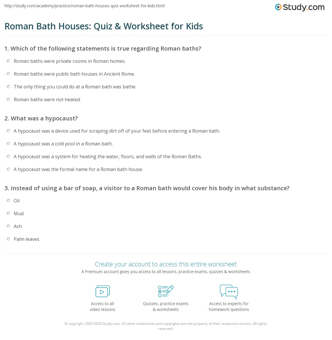 worksheet Roman Baths Worksheet roman bath houses quiz worksheet for kids study com print facts lesson worksheet