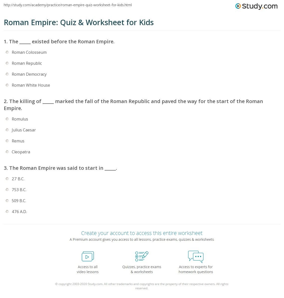 roman empire quiz worksheet for kids. Black Bedroom Furniture Sets. Home Design Ideas