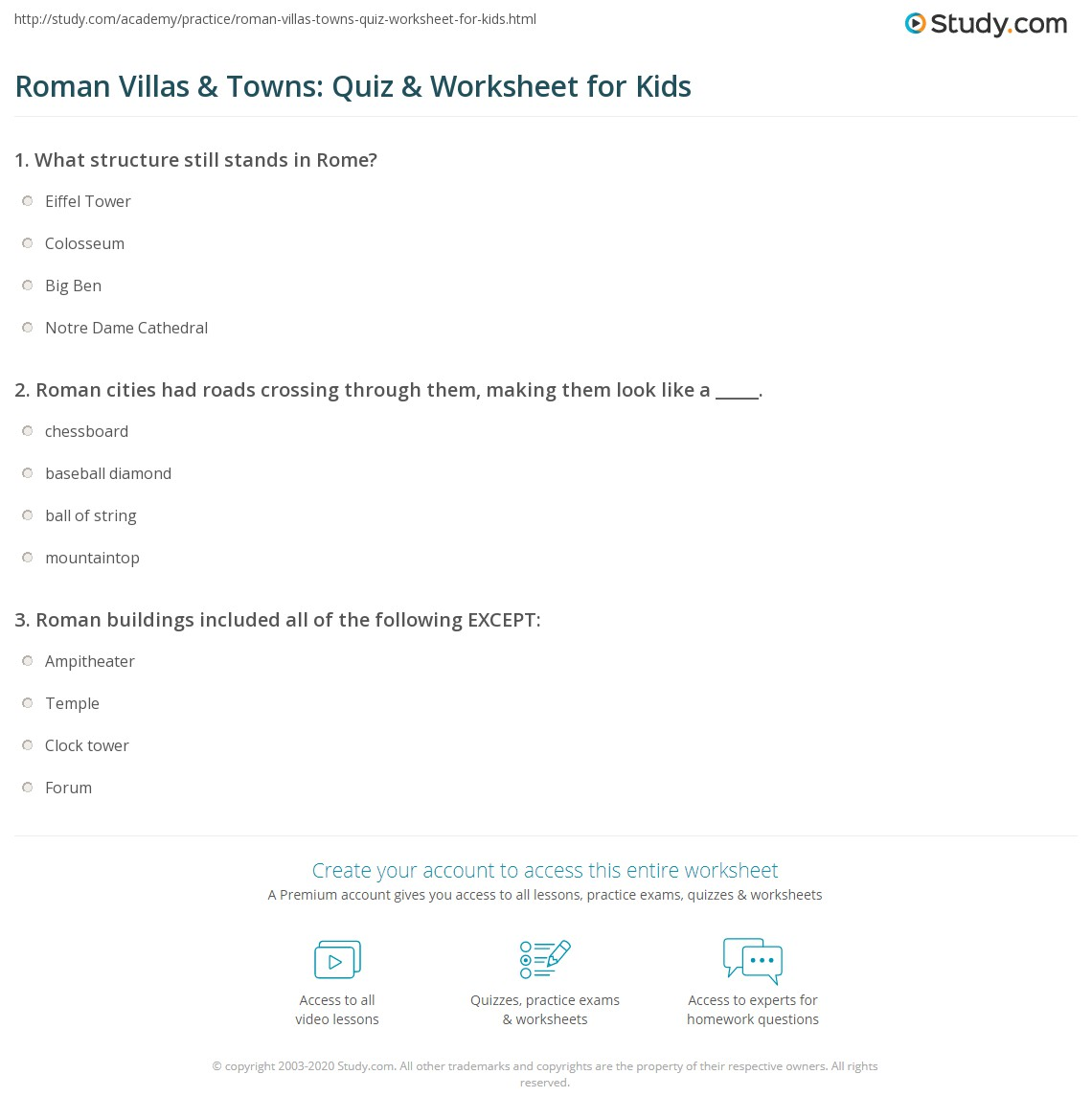 roman villas towns quiz worksheet for kids. Black Bedroom Furniture Sets. Home Design Ideas