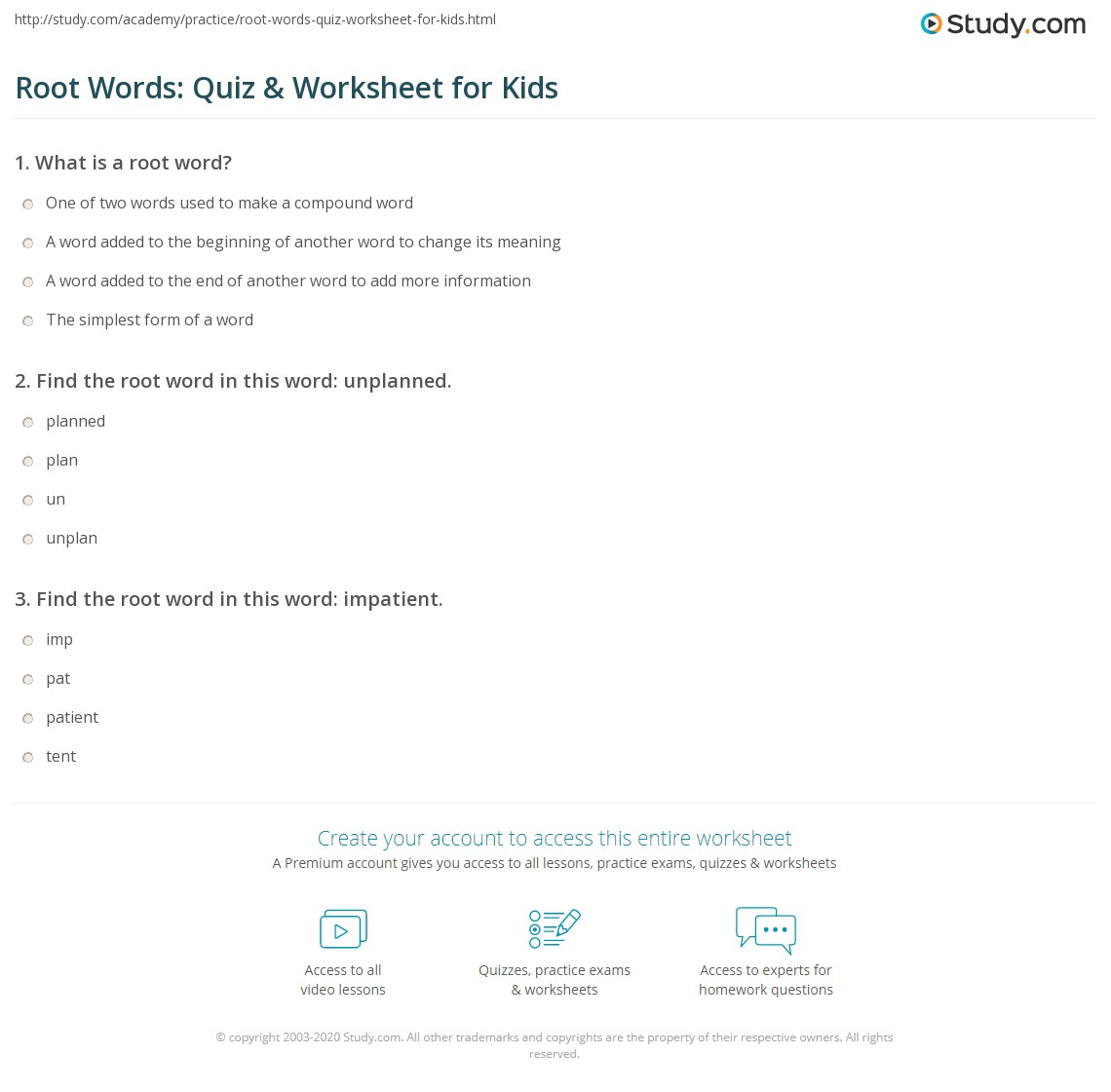 Root Words: Quiz & Worksheet for Kids | Study com