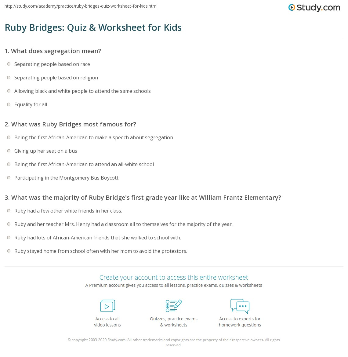 Printables Ruby Bridges Worksheets ruby bridges quiz worksheet for kids study com print lesson worksheet