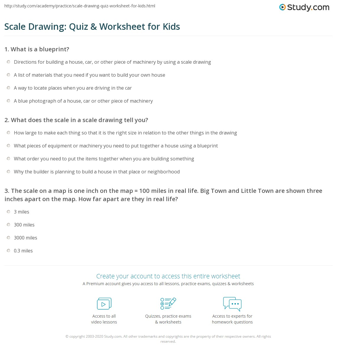 Scale Drawing Quiz Worksheet For Kids Study Com