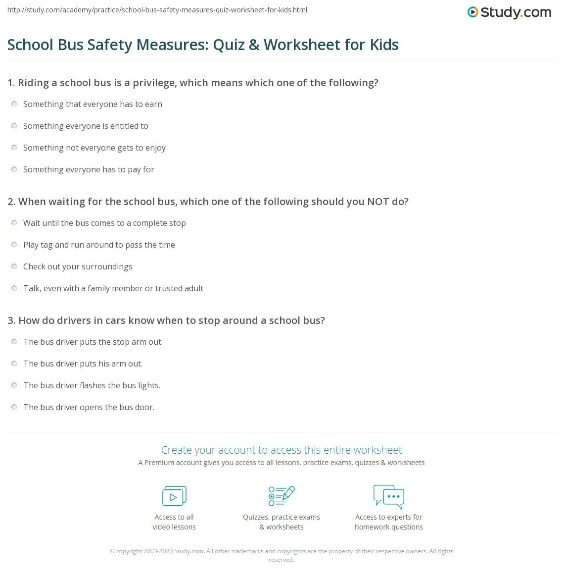 School Bus Safety Measures: Quiz & Worksheet for Kids | Study.com