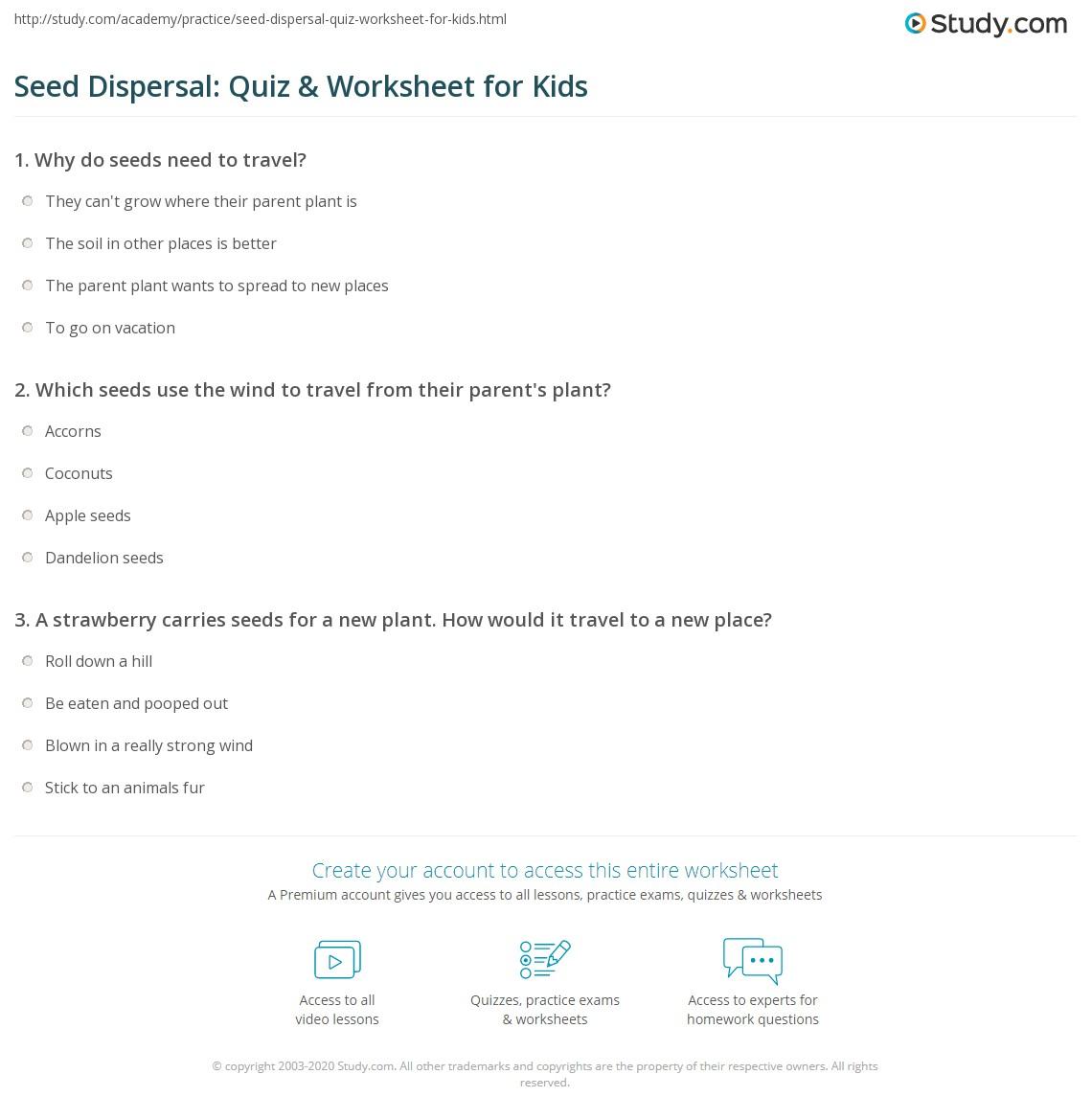 worksheet Seed Dispersal Ks2 Worksheet seed dispersal quiz worksheet for kids study com print lesson facts methods worksheet