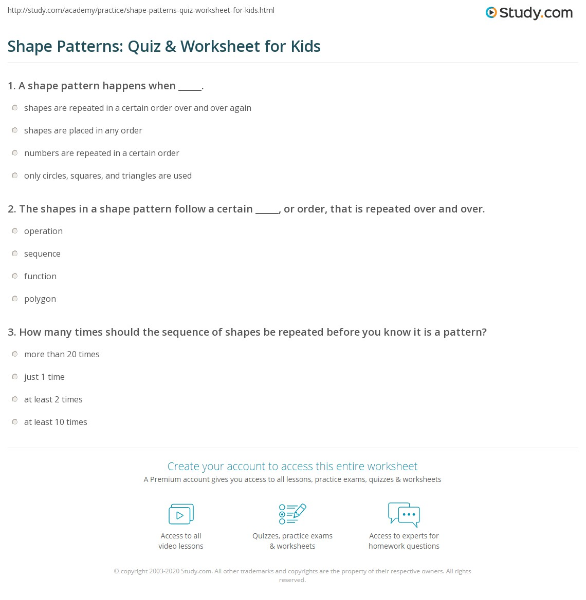 Shape Patterns Quiz & Worksheet for Kids