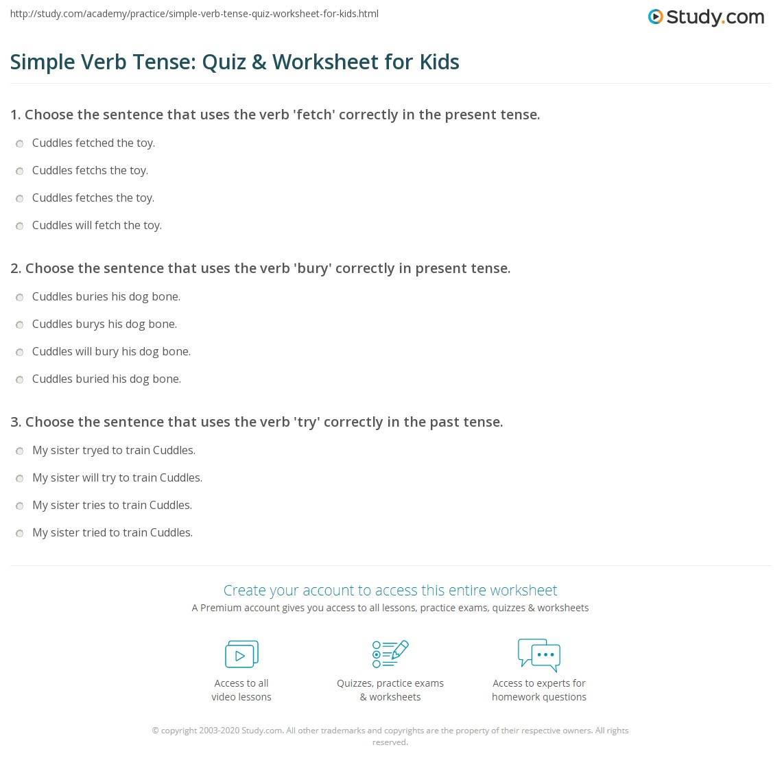 Simple Verb Tense: Quiz & Worksheet for Kids | Study com