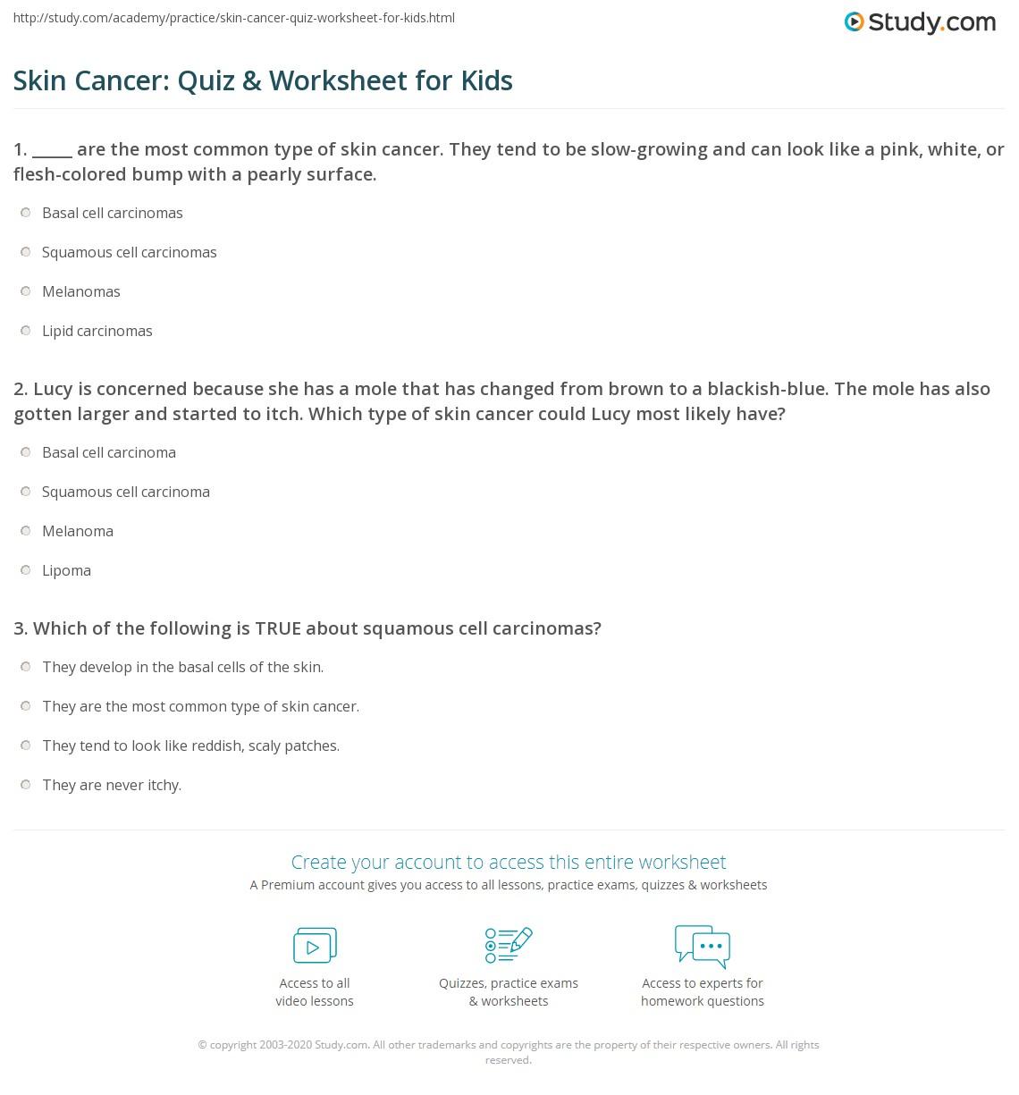 Skin Cancer Quiz Worksheet For Kids Study Com