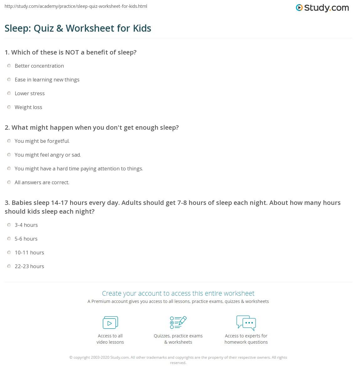 Worksheets Sleep Hygiene Worksheet sleep quiz worksheet for kids study com print lesson facts importance worksheet