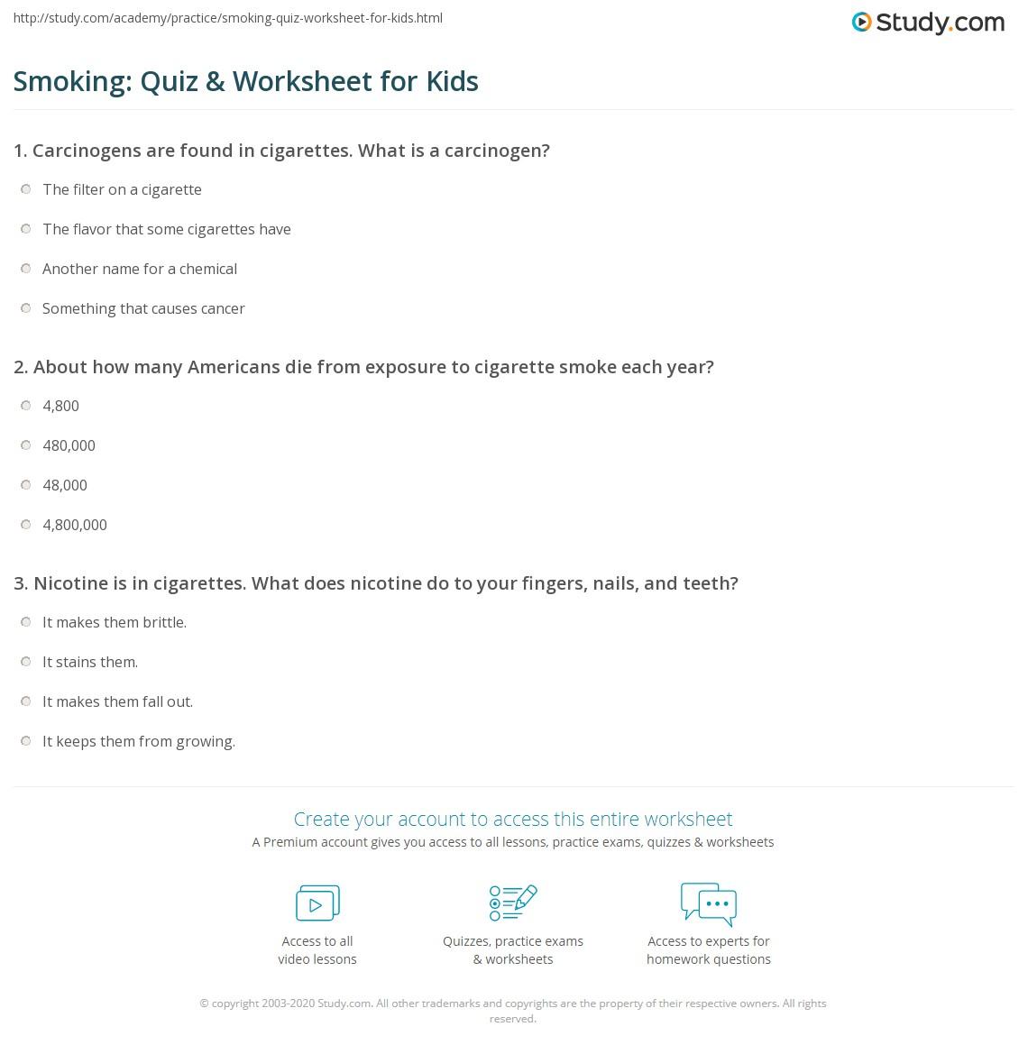 smoking: quiz & worksheet for kids | study