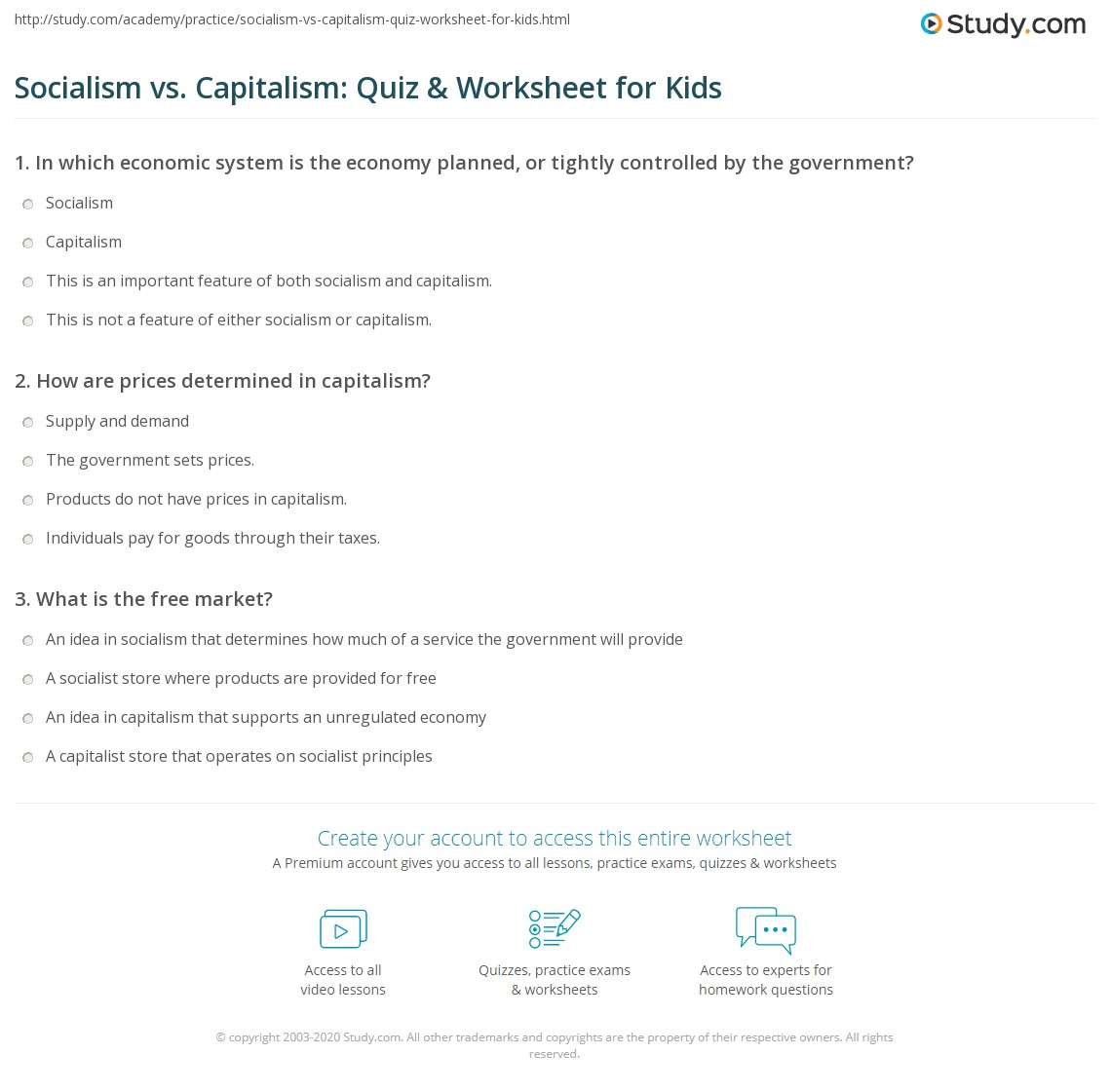 socialism vs capitalism quiz worksheet for kids. Black Bedroom Furniture Sets. Home Design Ideas