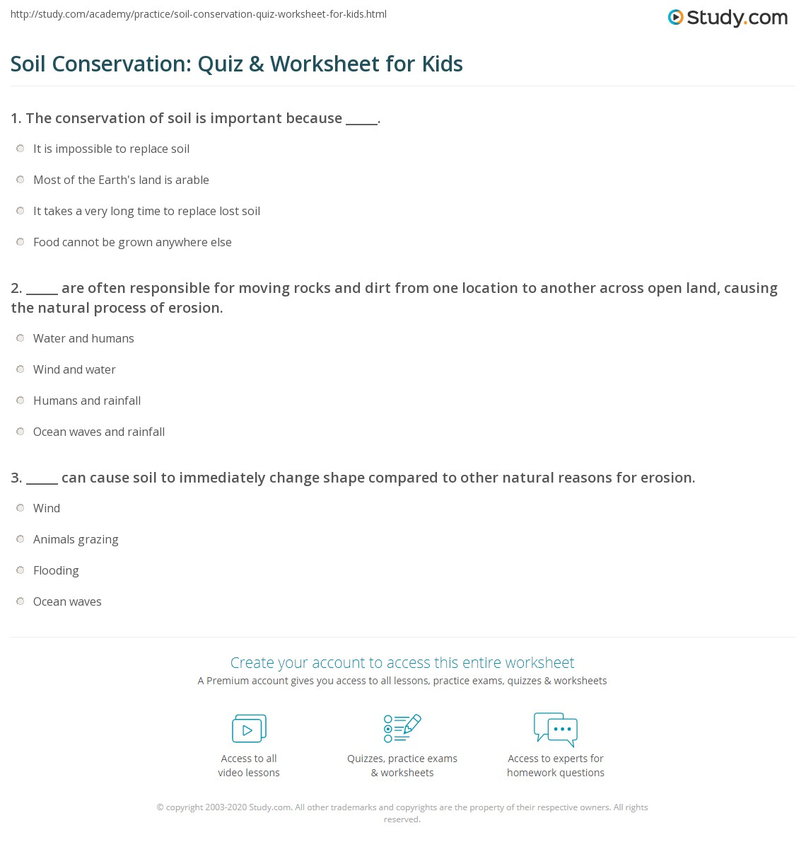 Worksheets Soil Conservation Worksheet soil conservation quiz worksheet for kids study com print lesson worksheet