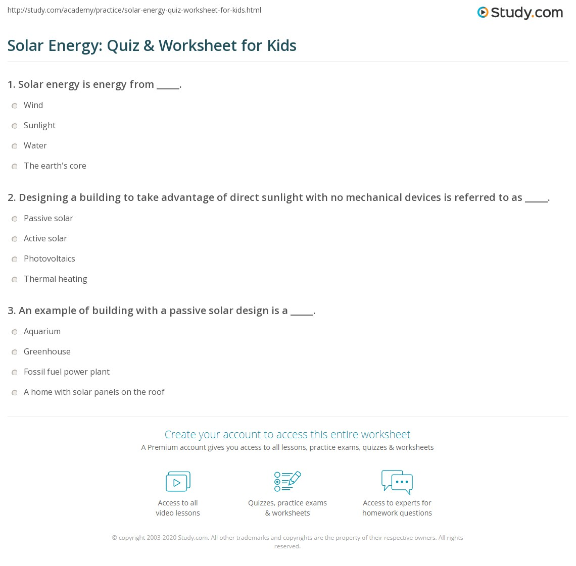 Solar Energy: Quiz & Worksheet for Kids | Study.com