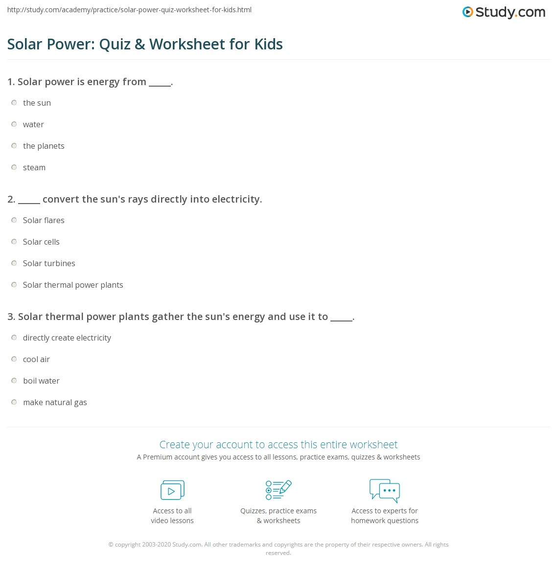 Solar Power: Quiz & Worksheet for Kids | Study.com