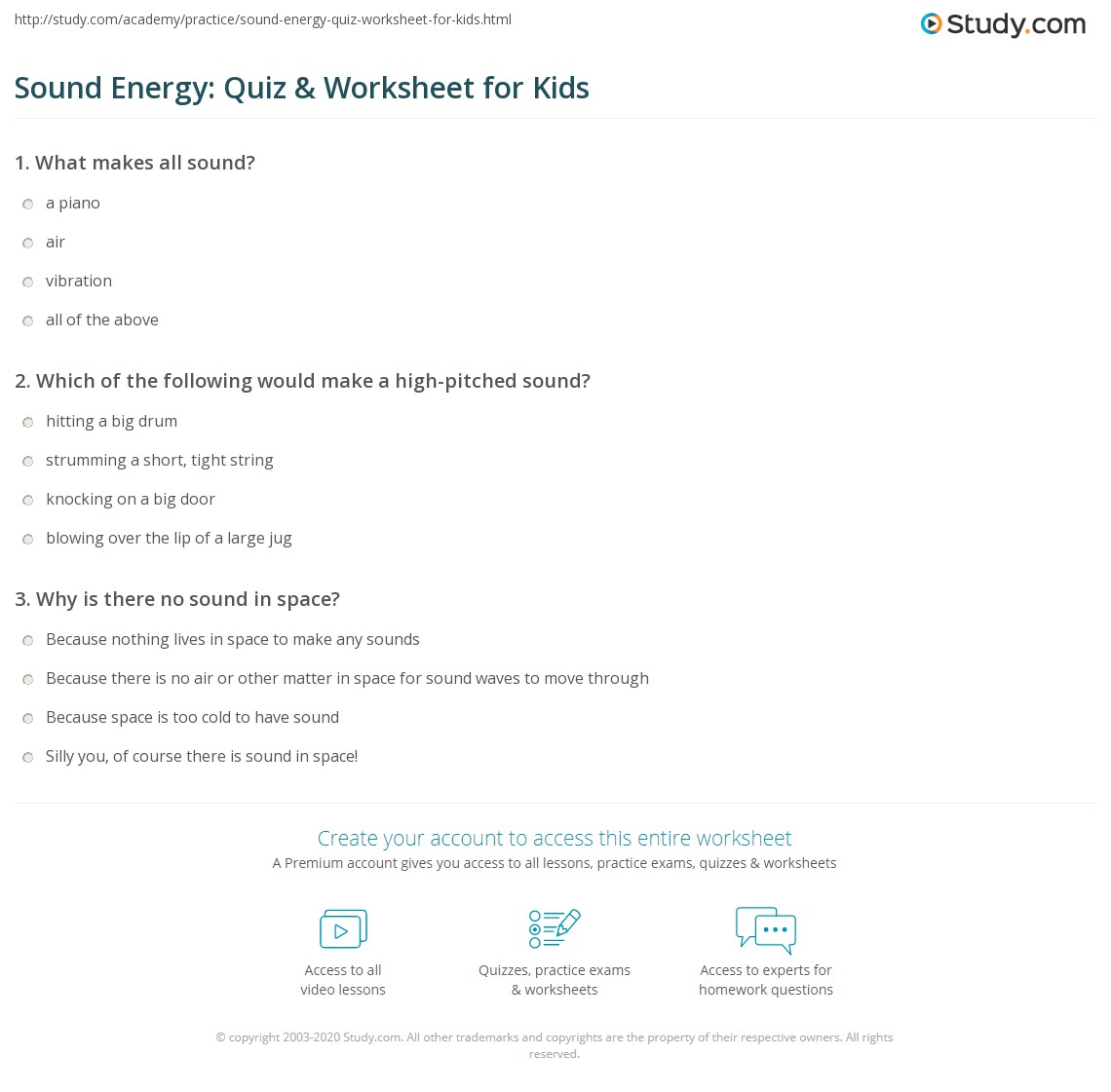 Sound Energy: Quiz & Worksheet for Kids | Study.com