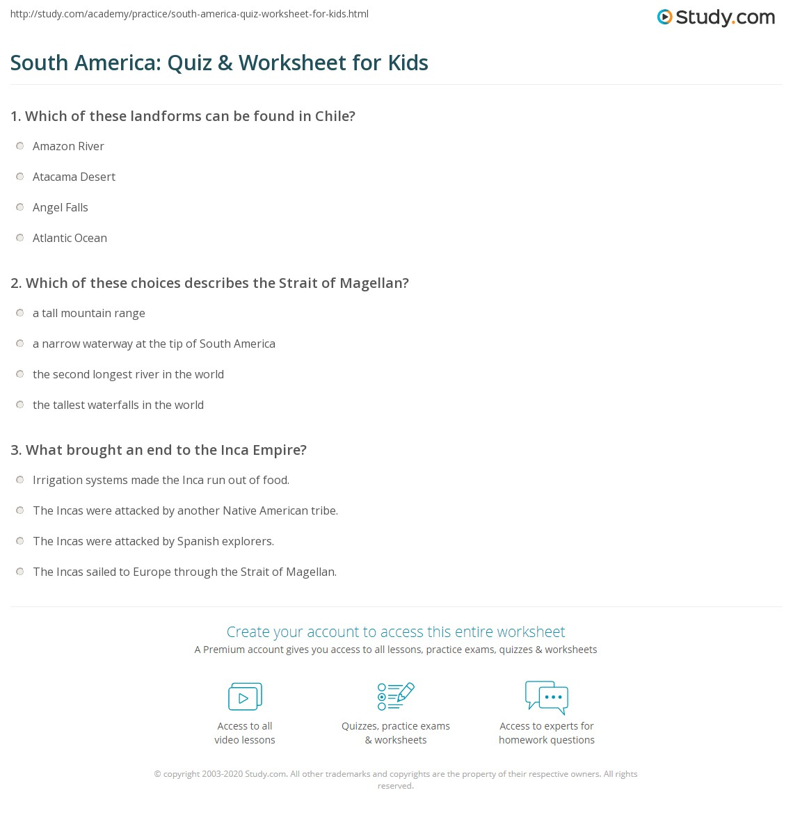 South America: Quiz & Worksheet for Kids | Study.com on