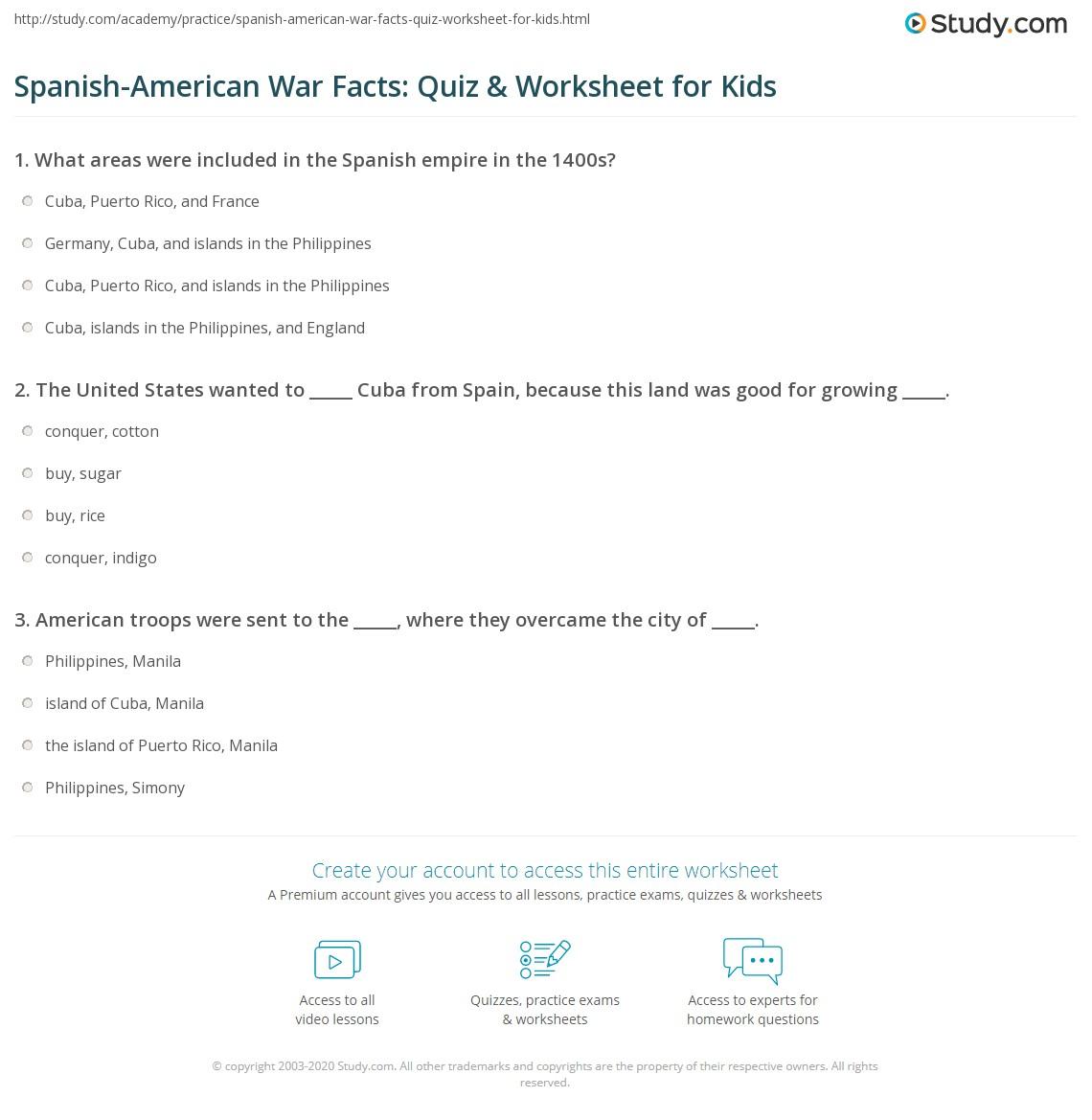 worksheet Spanish American War Worksheet spanish american war facts quiz worksheet for kids study com print lesson causes summary worksheet