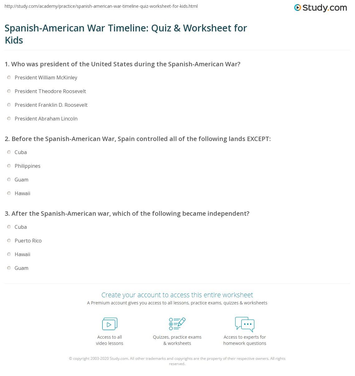 worksheet Spanish American War Worksheet spanish american war timeline quiz worksheet for kids study com print lesson worksheet