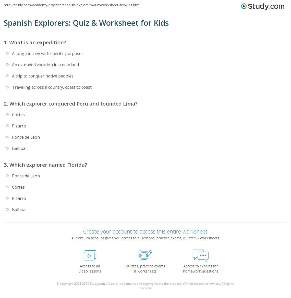worksheet Explorers Worksheets spanish explorers quiz worksheet for kids study com print lesson worksheet