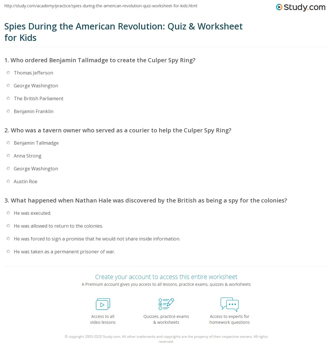 Spies During the American Revolution Quiz Worksheet for Kids – American Revolution Worksheet