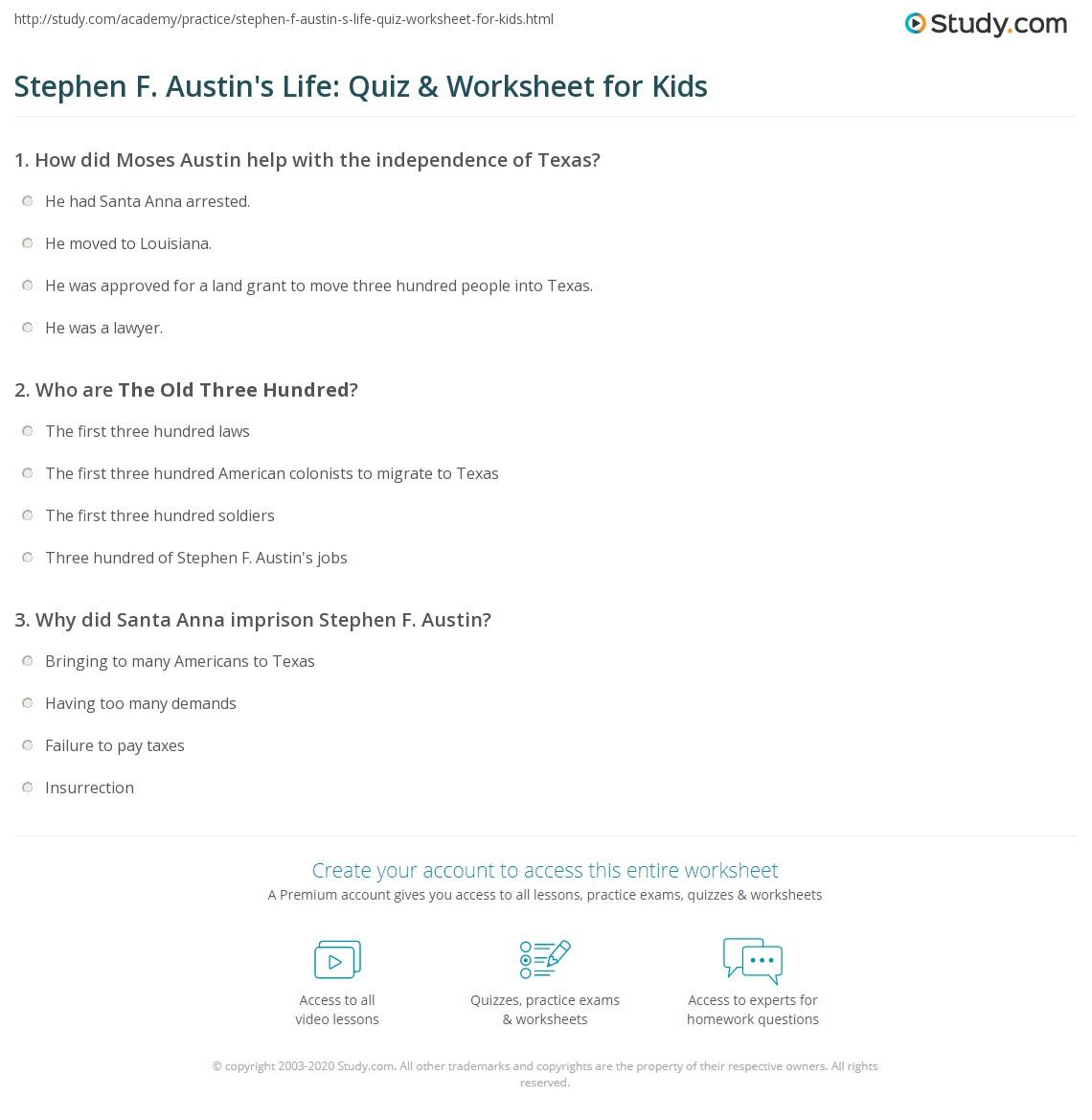 worksheet Stephen F Austin Facts stephen f austins life quiz worksheet for kids study com print austin lesson facts biography worksheet
