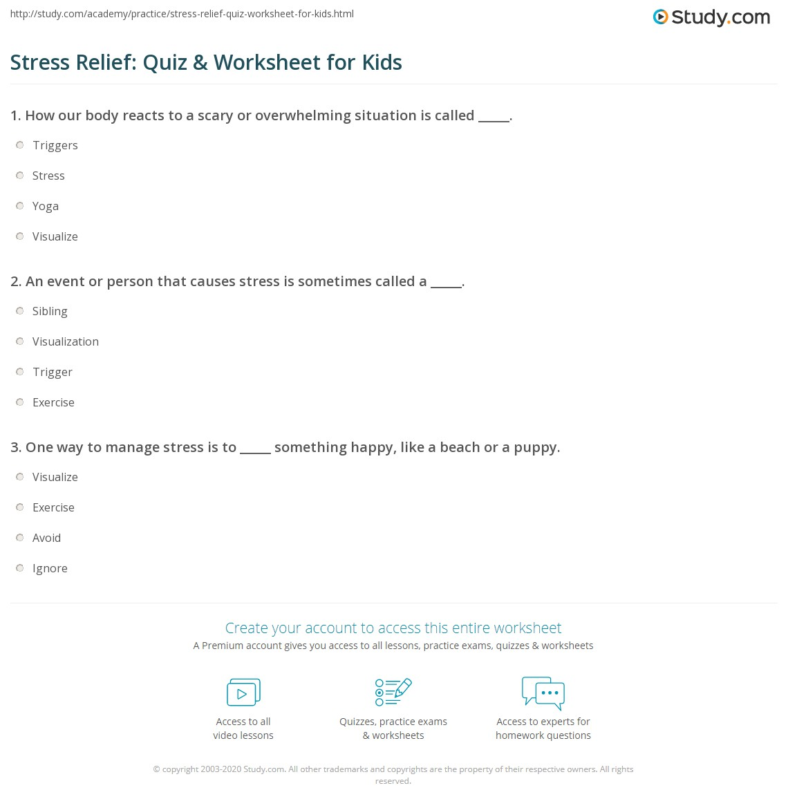 Stress Relief: Quiz & Worksheet for Kids | Study.com