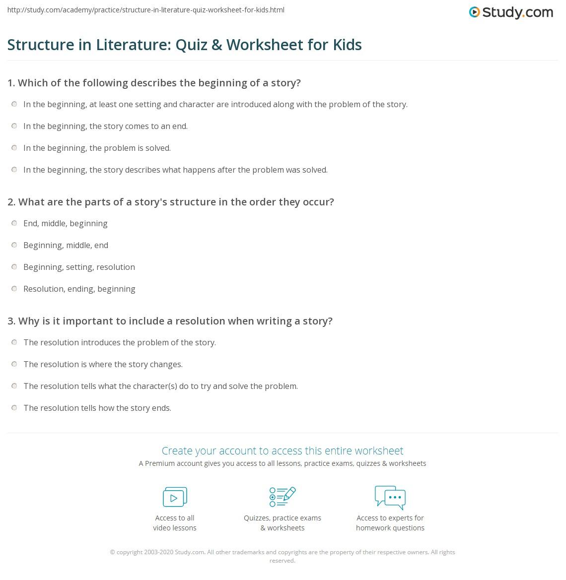 Structure In Literature Quiz Worksheet For Kids Study
