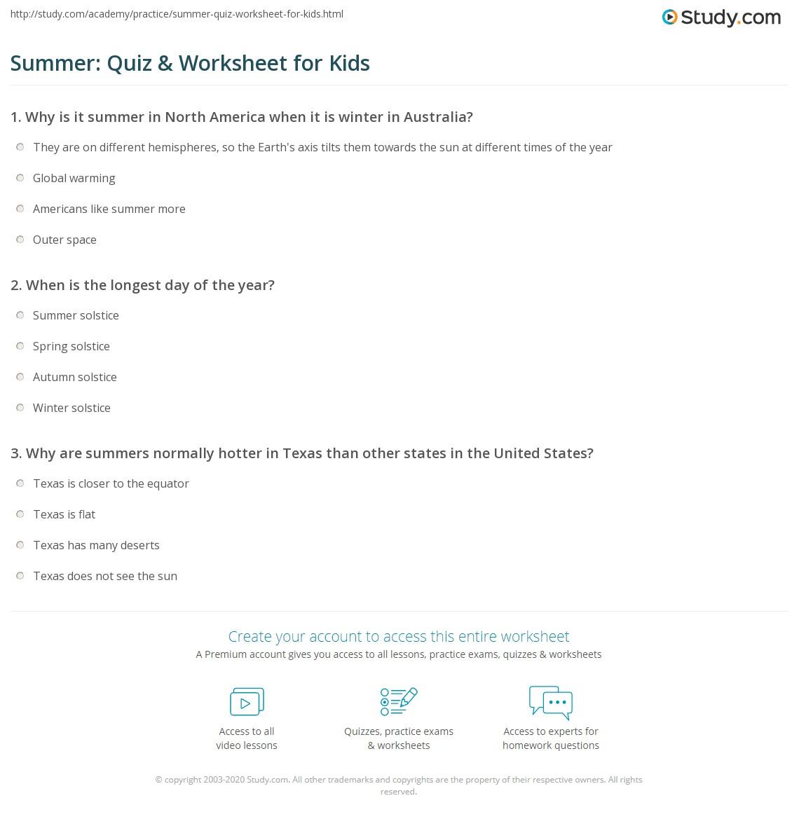 Summer Quiz Worksheet for Kids – North American Biomes Worksheet